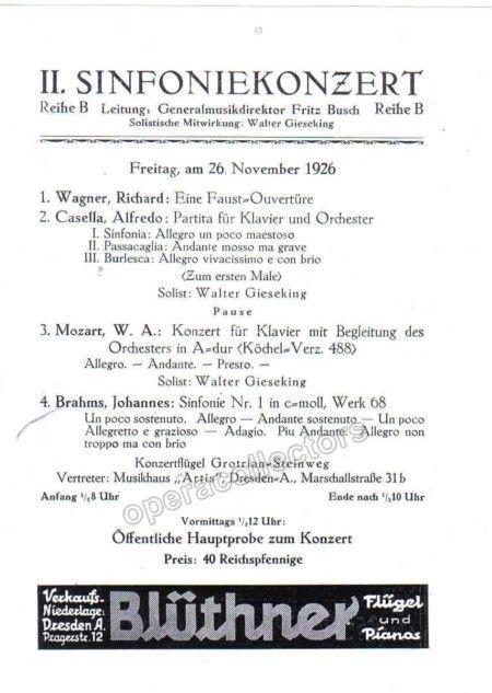 Gieseking Walter  Concert Program  Dresden   Dresden And