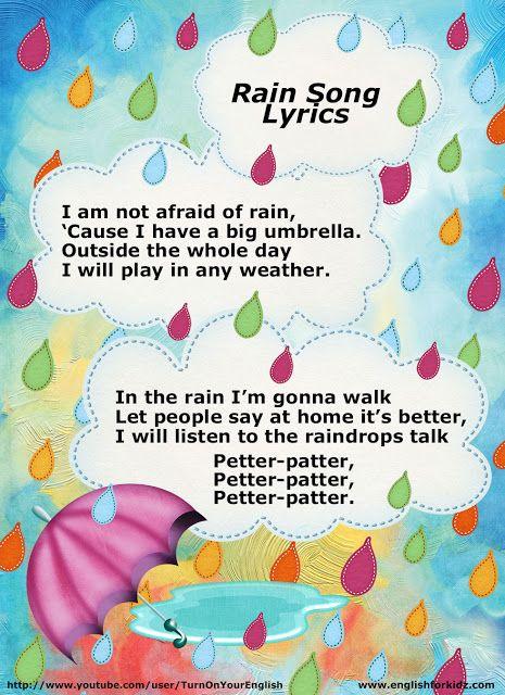 Rain Song Lyrics For Esl Children Teach English To Kids School Songs Kids Songs