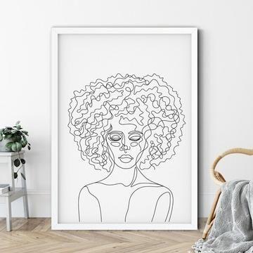 Afro Hair Line Drawing Art Print In 2020 Line Art Drawings Abstract Line Art Line Drawing
