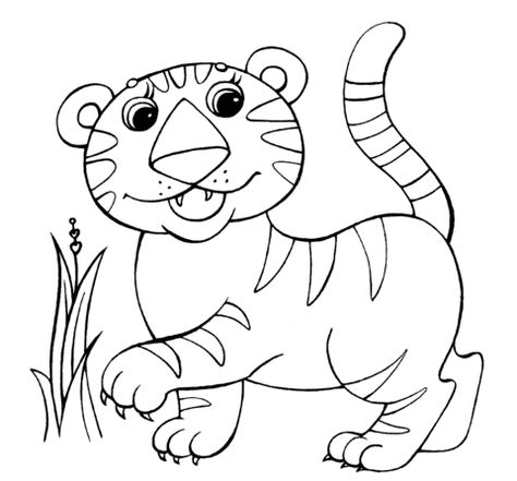 Click To See Printable Version Of Baby Tiger Coloring Page