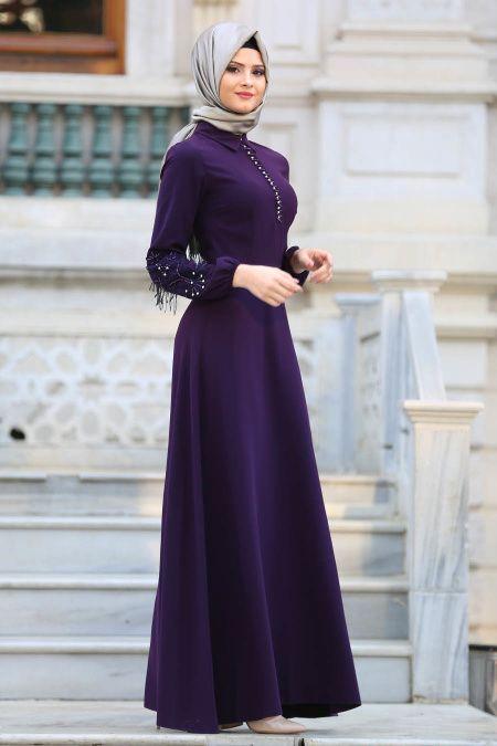 Puane Kollari Boncuk Detayli Mor Tesettur Elbise 8145mor Tesetturisland Com Elbise Modelleri Elbise The Dress