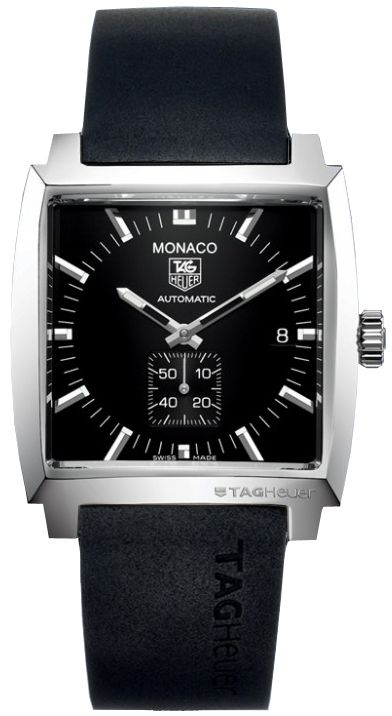 WW2110.FT6005  NEW TAG HEUER MONACO MENS WATCH IN STOCK   - FREE Overnight Shipping | Lowest Price Guaranteed    - NO SALES TAX (Outside California)- WITH MANUFACTURER SERIAL NUMBERS- Black Dial- Self Winding Automatic Movement- Sapphire Crystal Exhibition Back- 37 Jewels, Power reserve: Approximately 42 hours - 3 Year Warranty- Guaranteed Authentic- Certificate of Authenticity- Scratch Resistant Sapphire Crystal- Brushed with Polished Steel Case- Black Rubber Strap- Manufacturer Box