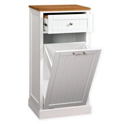 Spacemaster White Microwave Kitchen Cart With Hideaway Trash Can