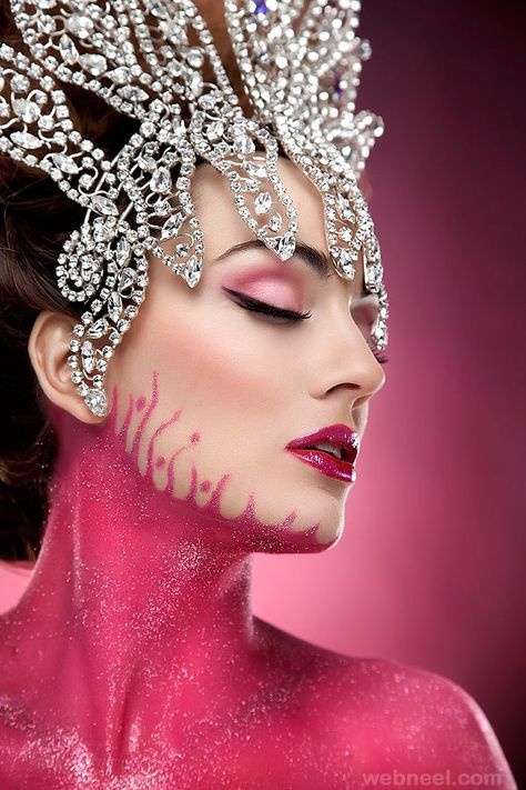 Pink Obsession II ~ by Rebeca Saray. Brilliant marriage of makeup and Diamond headdress