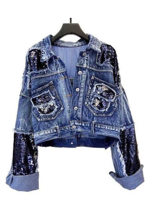 Thick Sequin Beaded Denim Jacket - One size fits all / Denim