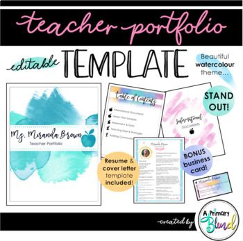 Teacher Portfolio Templatestand Out At Your Next Interview With This Beautiful Watercolour Themed Port Teacher Portfolio Teaching Portfolio Portfolio Templates