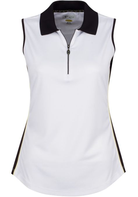 e22491b3ee Calypso (White) Greg Norman Ladies ML75 Sleeveless Zip Color Blocked Golf Polo  Shirt. Find the best ladies outfits at #lorisgolfshoppe