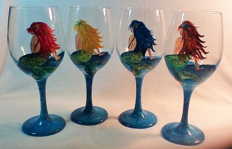 Painted wine glasses rooster wine glass
