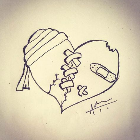 Beat and Broken Heart Drawing