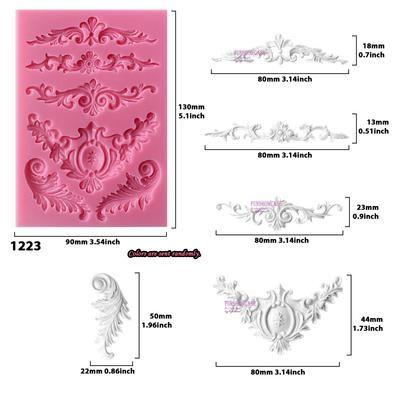 argile chocolat etc. Ornate baroque cadre moule en silicone pour gâteau toppers
