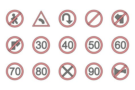 Set Of Road Signs Icons (443946)   Icons   Design Bundles