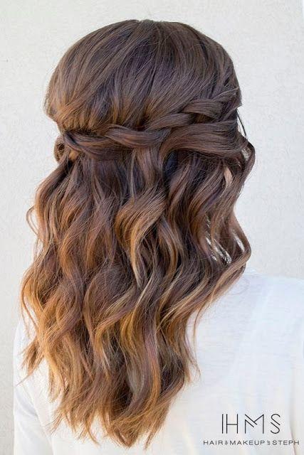 Easy Loose Waterfall Braid Hairstyles For Medium Length Hair Braid Easy Hai Prom Hairstyles For Long Hair Long Hair Wedding Styles Medium Length Hair Styles