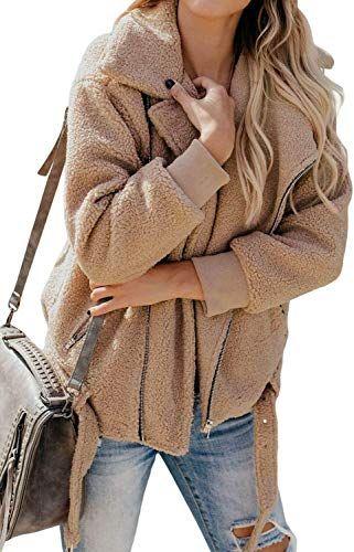 Best Seller Chase Secret Womens Lapel Long Sleeve Faux Shearling Zip Open Front Shaggy Coat Pockets Online Winter Jackets Women Jackets For Women Fashion