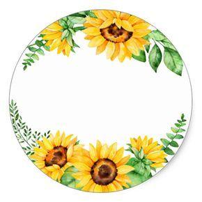 Vintage Watercolor Sunflower Wreath Classic Round Sticker Zazzle