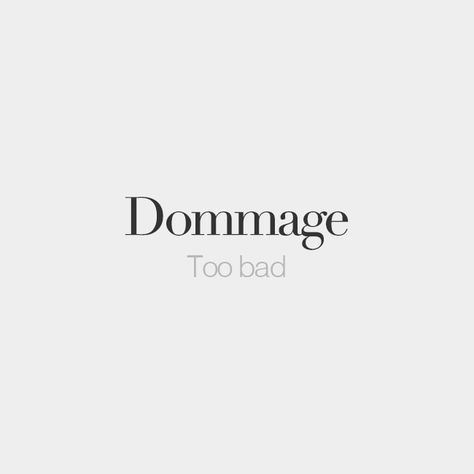 Dommage | Too bad | /dɔ.maʒ/