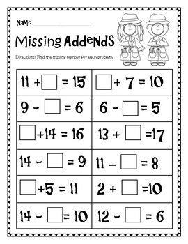 Missing Addends Worksheet First Grade Math Worksheets Math Addition Worksheets Kindergarten Math Worksheets