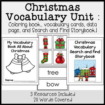 This Vocabulary Unit Covers 20 Different Christmas Related Words It Includes 1 Vocabulary Coloring Book This Bo Vocabulary Vocabulary Cards Christmas Books