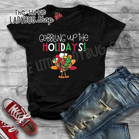 456d8f2b6af56 Start this holiday season with this Fun Thanksgiving Christmas Teacher Tee.  Perfect humor tee! #teachertees #thankful #thanksgivingfun #turkeycraft