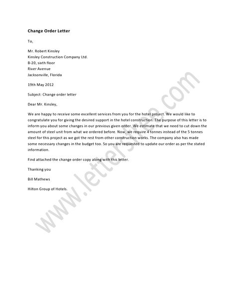 A change order letter states some changes in order that was made - cease and desist order sample