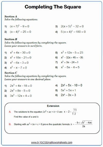 Completing The Square Worksheet Beautiful Pleting The Square Worksheet Chessmuseum Template Library Completing The Square Quadratics Math Worksheet