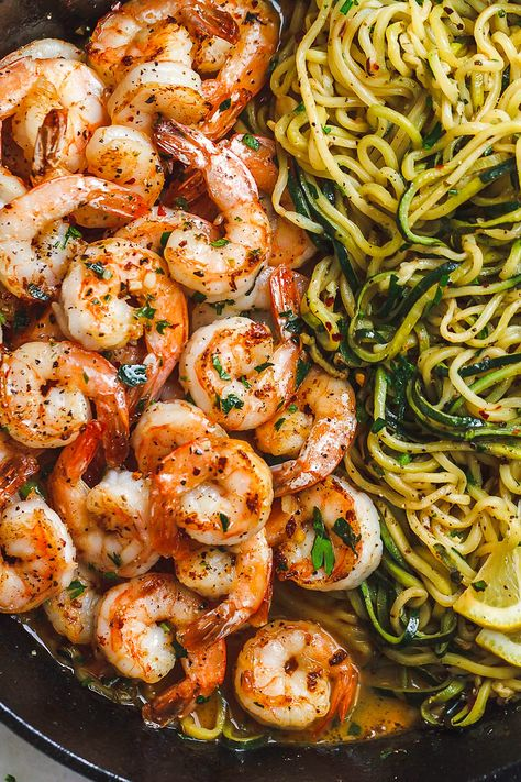 10-Minute Lemon Garlic Butter Shrimp with Zucchini Noodles - #eatwell101 #recipe This fantastic meal cooks in one skillet in just 10 minutes. #Shrimp #Zucchini #Noodles #Low-carb, #paleo, #keto, and #gluten-free. - #recipe by #eatwell101