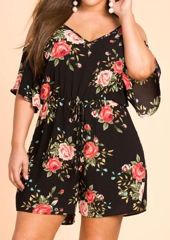 709bfdf8677 Plus Size casual loose playsuits Women Floral Cold Shoulder Romper Flower  belt Spaghetti Straps Backless Ladies Playsuits Tops