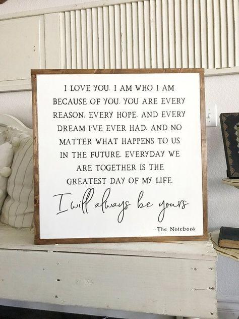 The Notebook, Notebook Wood Sign, Farmhouse Decor, Wooden Sign, Wedding Gift, Home Decor, Anniversar