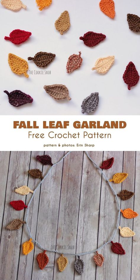 Fall and Thanksgiving Garland Free Crochet Patterns Using this pattern you can make a garland, but also you can use leafs as an applique, key chain, etc. Thanksgiving Crochet, Holiday Crochet, Crochet Home, Crochet Crafts, Free Crochet, Crochet Fall Decor, Autumn Crochet, Crochet Owls, Crochet Projects