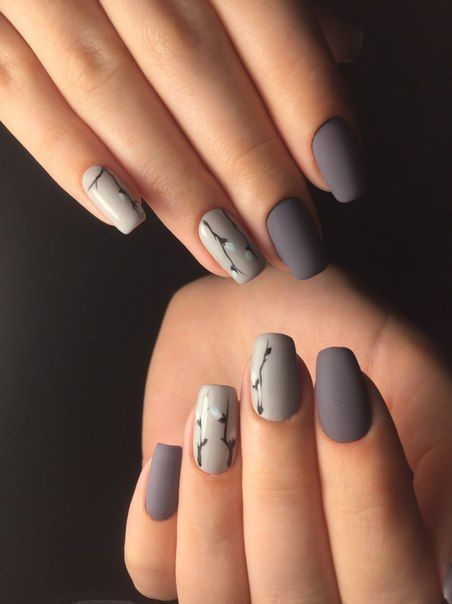Grey Matte Gel Nails With Fl Print Mila S Additional Inspiring Nail Concept