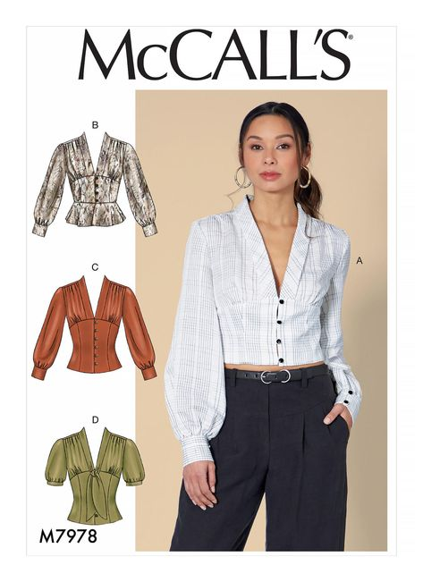 Cropped Tops, Blouse Patterns, Blouse Designs, Blouse Sewing Pattern, Shirt Patterns For Women, Blouse Pattern Free, Crop Top Pattern, Pattern Drafting, Free Pattern
