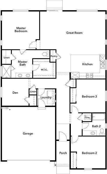 Plan 1857 New Home Floor Plan In Falling Water By Kb Home Floor Plans Kb Homes House Floor Plans