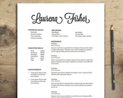 Corporate Resume Template with Cover Letter Parchment Style - resume template for it