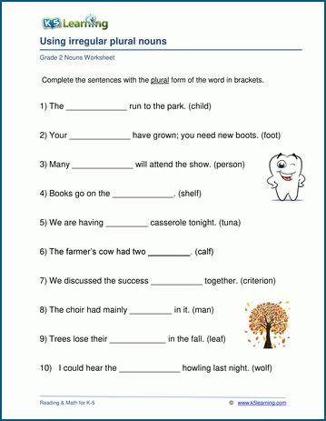 Grade 2 Nouns Worksheets K5 Learning Nouns Worksheet Plurals Plural Nouns Worksheet
