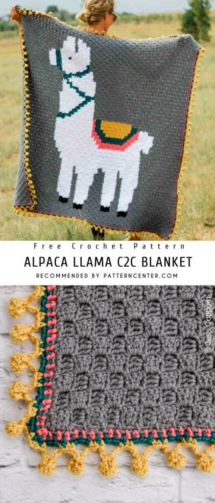 Alpaca Llama C2c Blanket Crochet Pattern Free Pattern Center Crochet Patterns Free Blanket Crochet Blanket Patterns Crochet Blanket Border
