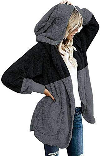 Womens Fleece Outwear Pockets Cardigans Coats Hoodie Pullover Overcoat