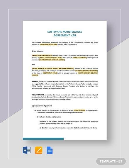 Software Maintenance Agreement Var In 2020 Marketing Plan