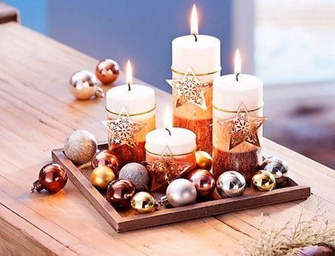 Kerzenset Weihnachten 4er Kerzen Set Adventskranz Teller Gold