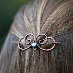 hearts Pin Handmade hair pin viking style.Gift for woman.Gift for girl copper Jewelry brass Hair Pin Hair accessories Solid Brass Pin