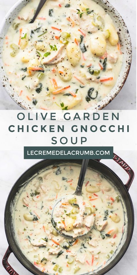 This copycat Olive Garden Chicken Gnocchi Soup is every bit as creamy and delicious as the restaurant version, made in less than 30 minutes! Best Soup Recipes, Crockpot Recipes, Chicken Recipes, Cooking Recipes, Favorite Recipes, Creamy Soup Recipes, Comfort Food, Soup And Sandwich, Soup And Salad