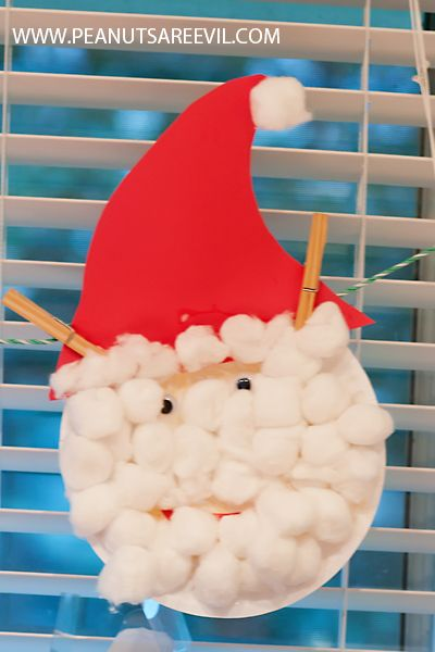 Preschool Crafts for Kids: Cotton ball Santa