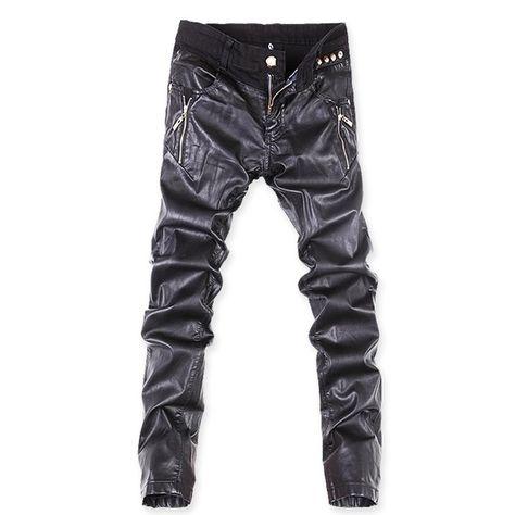 Mens Faux leather Motor Nightclub Dress Boys Long Casual Trousers Pants Fashion