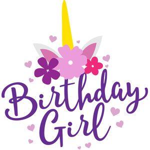 4658b270 Birthday girl unicorn   Logos   Unicorn birthday cards, Girl ...