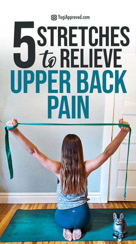 Upper Back Pain Exercises, Back Stretches For Pain, Yoga For Back Pain, Stretching Exercises, Neck And Shoulder Exercises, Shoulder Workout, Wellness Fitness, Fitness Gear, Fitness Diet