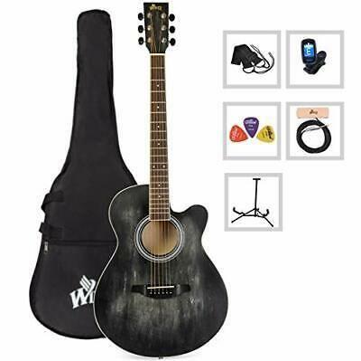 40 Inches Cutaway Acoustic Guitar Beginner Starter Bundle Guitar Acoustic Guitar Guitar For Beginners