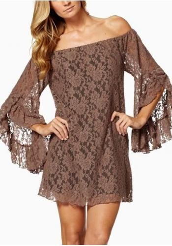 Women's sexy boat neck falbala long sleeve hollow out lace dresses