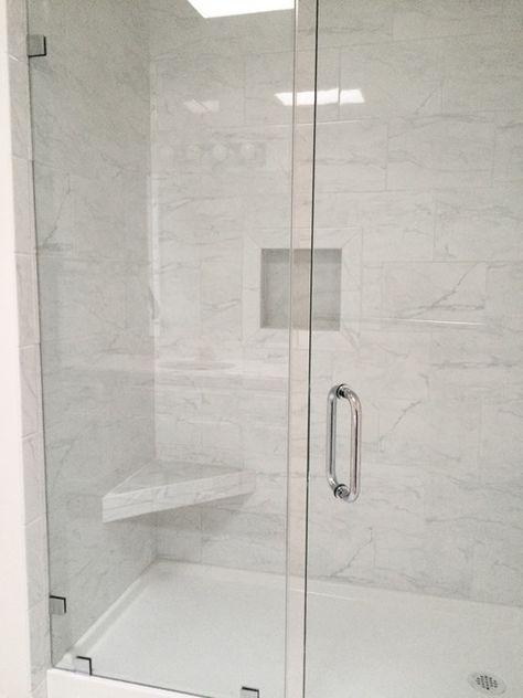 Grandma S Walk In Shower Tile Walk In Shower Shower Doors