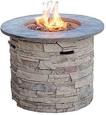 Amazon Com Christopher Knight Home 296659 Rogers Propane Fire Pit 32 Top 40 000 Btu Round Grey Garden O Propane Fire Pit Outdoor Fire Pit Table Fire Pit