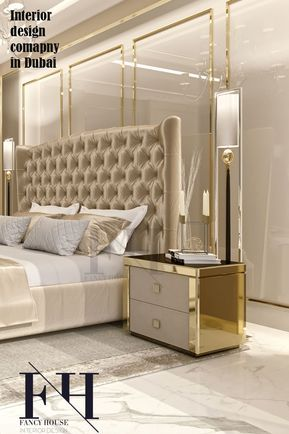 Unique Interior Design For Dubai Home In Light Brown Gold Colors
