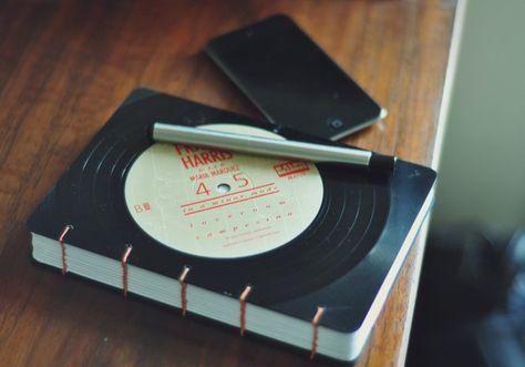 Upcycled vinyl records...