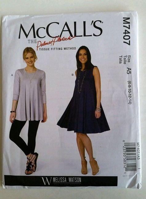 fc64d366b1e7 McCalls Sewing Pattern 7407 Melissa Watson Misses Swing Tops   Dress ...